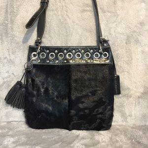 Aqua Madonna Black Leather/Calf Hair Bag
